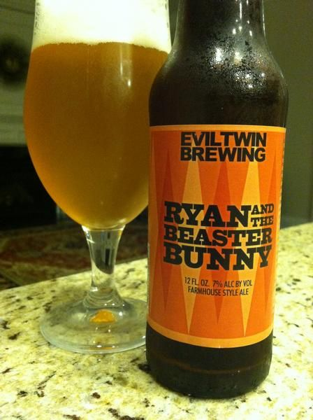 BrewChief.com Review of Ryan And The Beaster Bunny Farmhouse Ale (Evil Twin Brewing) : What's in a beer name? To Evil Twin Brewing, apparently a lot. With beer names like ''Even More Jesus'' and ''The Talented Mr. Orangutan'', you can't help but wonder what goes through the mind of brewmaster Jeppe Jarnit-Bjergsø when it comes time to name a new brew. I picture him dropping a hit of acid while sitting in a windowless multicolored room with a notepad prepared to write down whatever he sees...