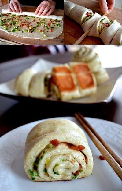 Chinese Scallion Rolls, with Bacon Crunchiness #scallionrolls #chinese