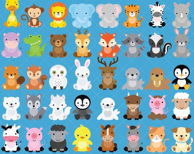 Paquete de imágenes prediseñadas Animal del bebé / Safari animales / bosque animales / animales de granja / Ártico animales