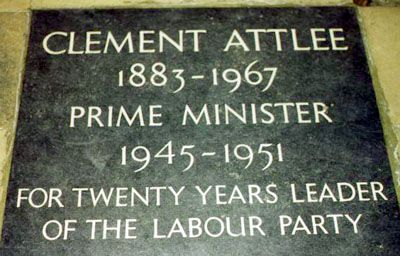 Clement Attlee (1883 - 1967) British Prime Minister. Served as Prime Minister of Great Britian from 1945 to 1951, and enacted many social reforms.