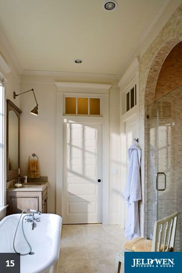 Love this door with transom and the trim around it just for 1915 bathroom photos