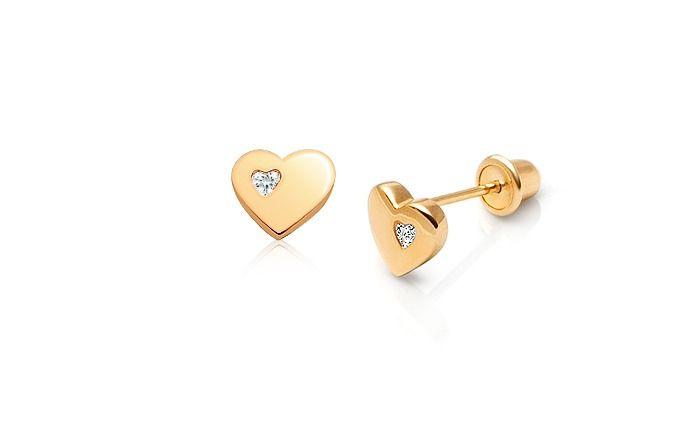 Always in my Heart Children's Earrings, Clear CZ Screw Back - 14K Gold