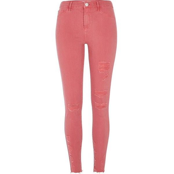 River Island Pink ripped skinny fit Molly jeggings ($84) ❤ liked on Polyvore featuring pants, leggings, jeans, jeggings, pink, women, jeggings leggings, ripped jean leggings, pink jeggings and red jeggings