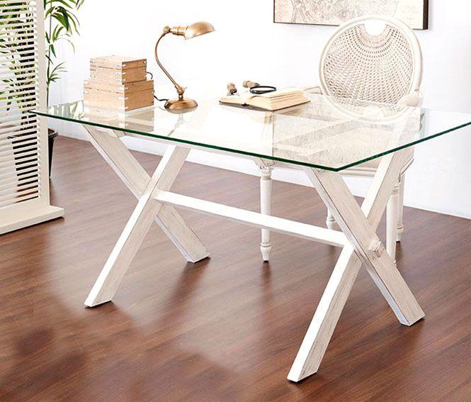 Muebles Portobellostreet.es: Mesa plegable lacado blanco pátina - Mesas de Despacho y Escritorios Coloniales - Muebles Coloniales y Muebles Rústicos