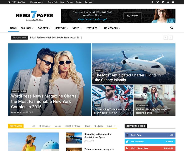 Top 20 Responsive Magazine News WordPress Themes For Blogging and News Sites 2016