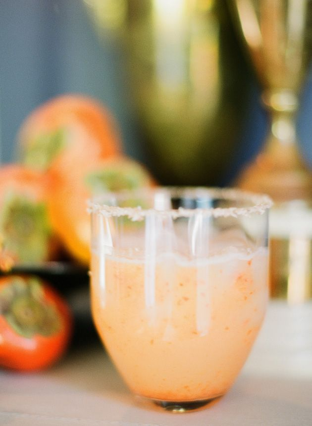 Persimmon Margarita ~ 1 1/2 shots of gold tequila, heaping spoonful of ...