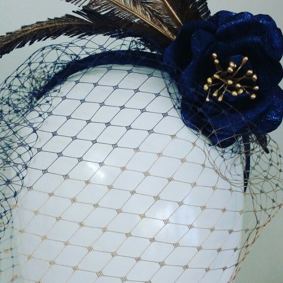Ombre veiling , headpiece in metallic leather and feathers by Wendy Louise  for Belle Folie