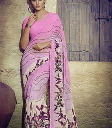 Buy Pink printed chiffon saree with blouse chiffon-saree online