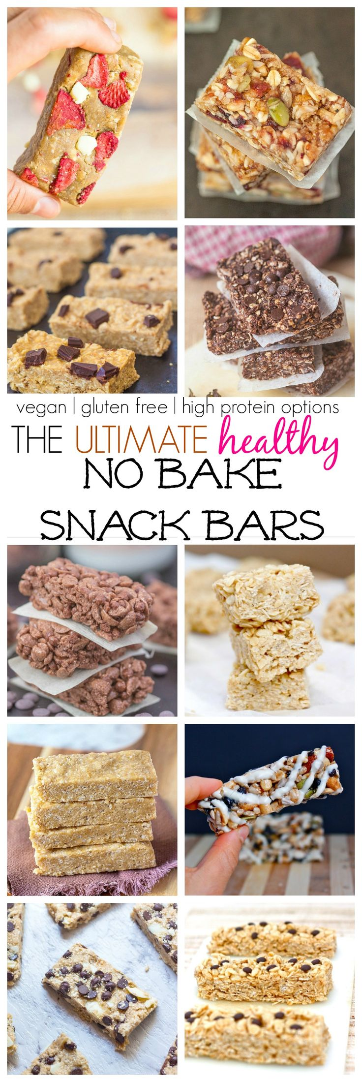 The Ultimate (Healthy) No Bake Snack/Granola/Protein Bars which ALL take less than 10 minutes to whip up! {vegan, gluten free, high protein options!}