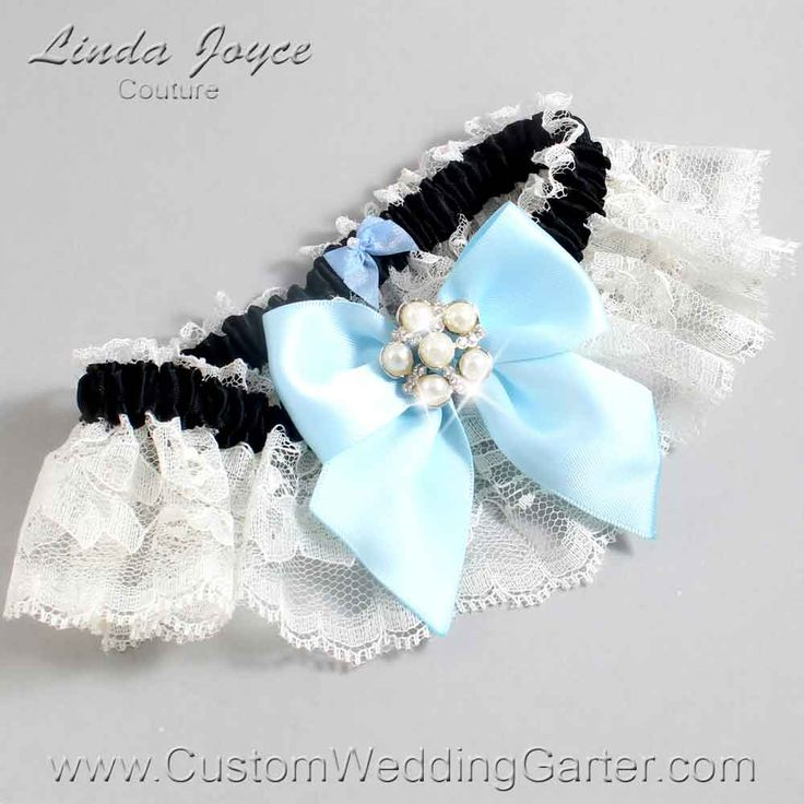 Alice Blue Black And Ivory Lace Pearl Bridal Garter Monica 10 Silver