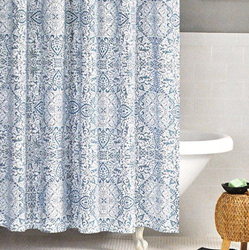 Nicole Miller Fabric Shower Curtain Teal Blue Moroccan Paisley Medallion Nicole  Miller