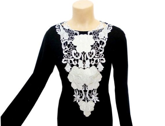 White Lace Necklace, Lace and leather, Rose necklace, Cutwork lace, Lace fashion, Needlework Necklace, FREE SHIP, Big Designer Necklace