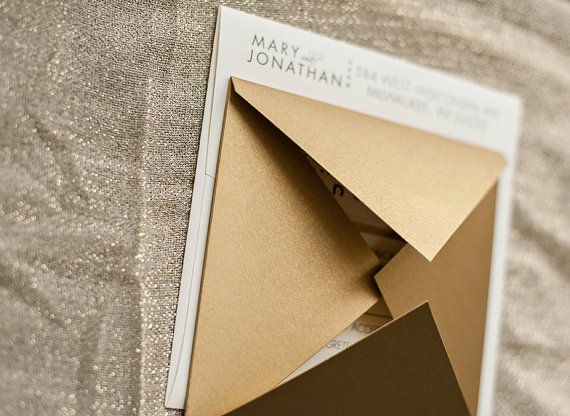 Glam Modern Luxury Metallic Gold Wedding Invitations | Mary And Jonathan