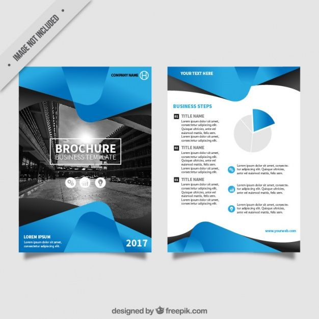 Flyer template with blue abstract forms Free Vector