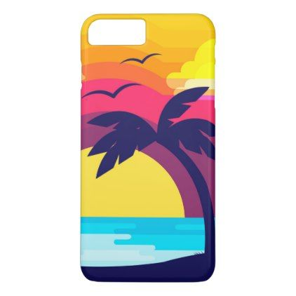Colorful Tropical Sunset & Palm Tree | Phone Case - simple clear clean design style unique diy