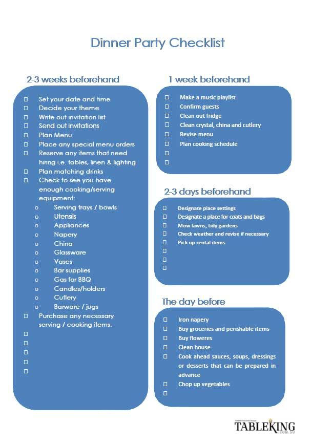 Dinner Party Checklist Good To Know Pinterest