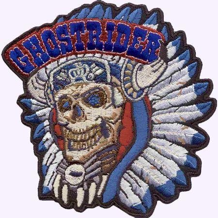 CUSTOMIZE.fr : Ecusson - Patch brodé : Ghostrider Chef indien (ecusson, patch broderie, tete de mort, skull, indien, crane, ethnique, indian, chef, motard)