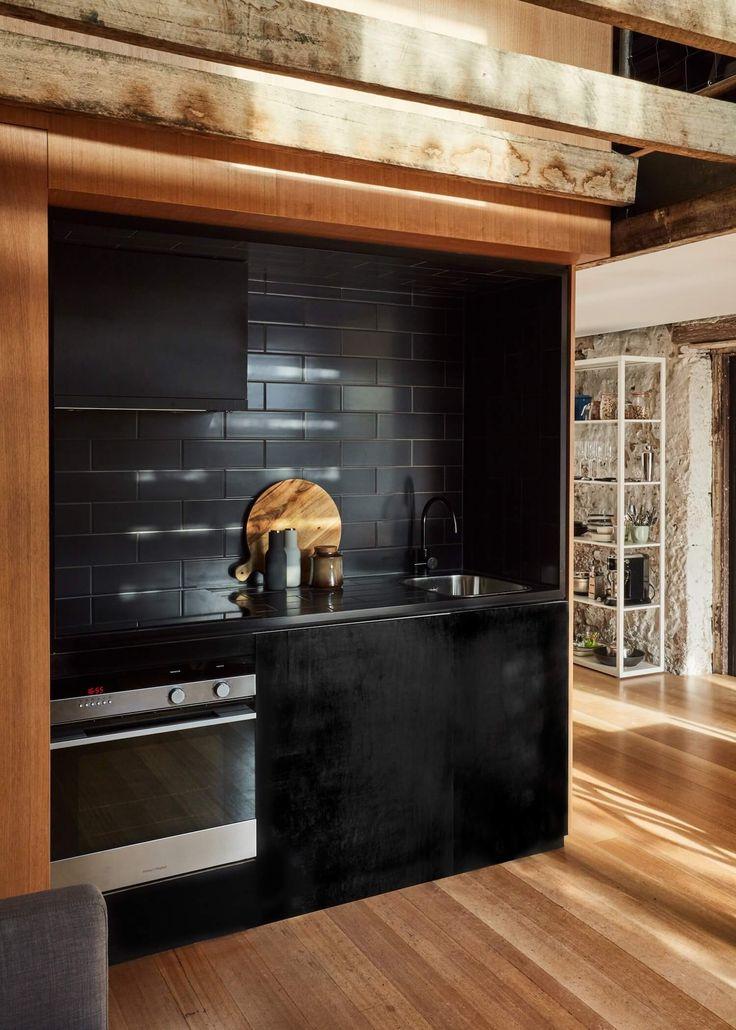 Black kitchen .