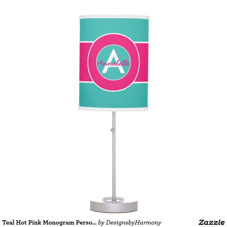 Teal Hot Pink Monogram Personalized Desk Lamp