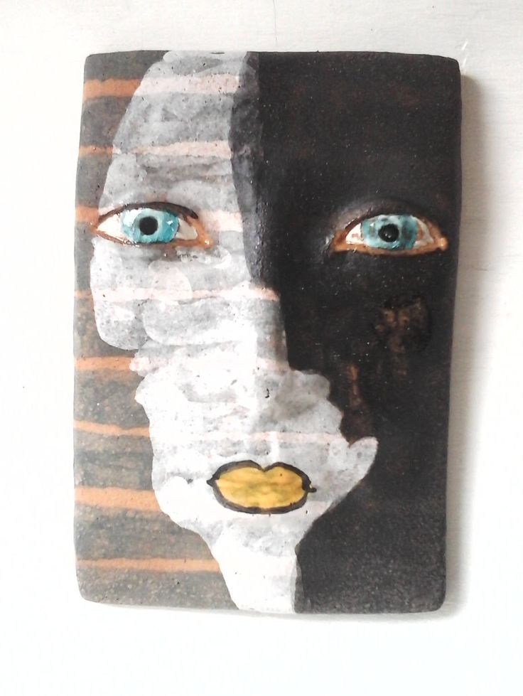Black and white tile face sculpture, ceramic wall art, Picasso cubist style art lover gift by LouiseFultonStudio on Etsy