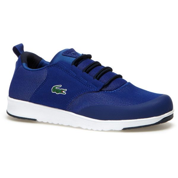 Lacoste Women`s L.ight R Two-Tone Canvas Sneakers ($92) ❤ liked on Polyvore featuring shoes, sneakers, plimsoll sneakers, mesh sneakers, lacoste trainers, canvas sneakers and sports shoes
