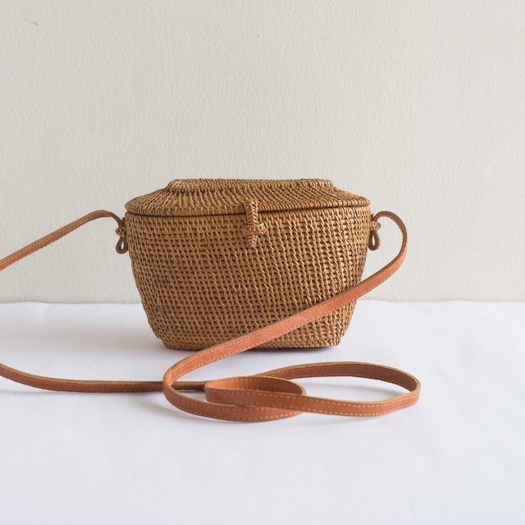 GRASS Rattan Straw Bag with Batik Lining