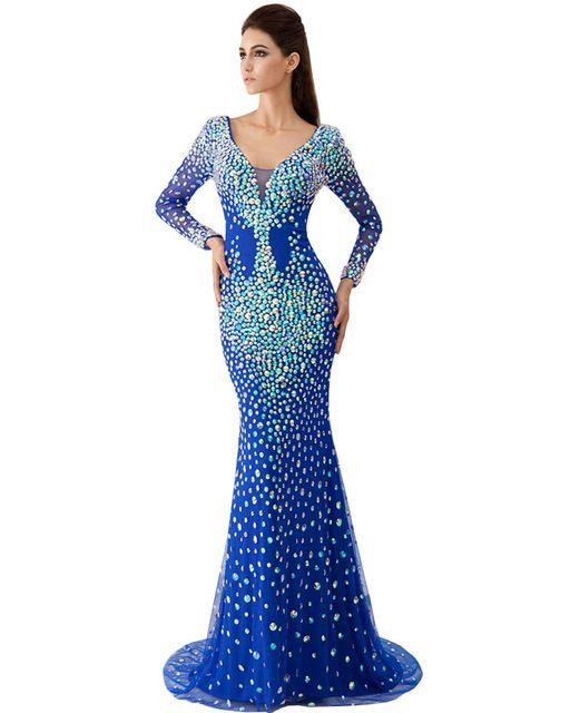 Королевский синий русалка платья вечерние платья с камнями длинные вечерние платья пышными рукавами шампанское vestidos партии largos 2016