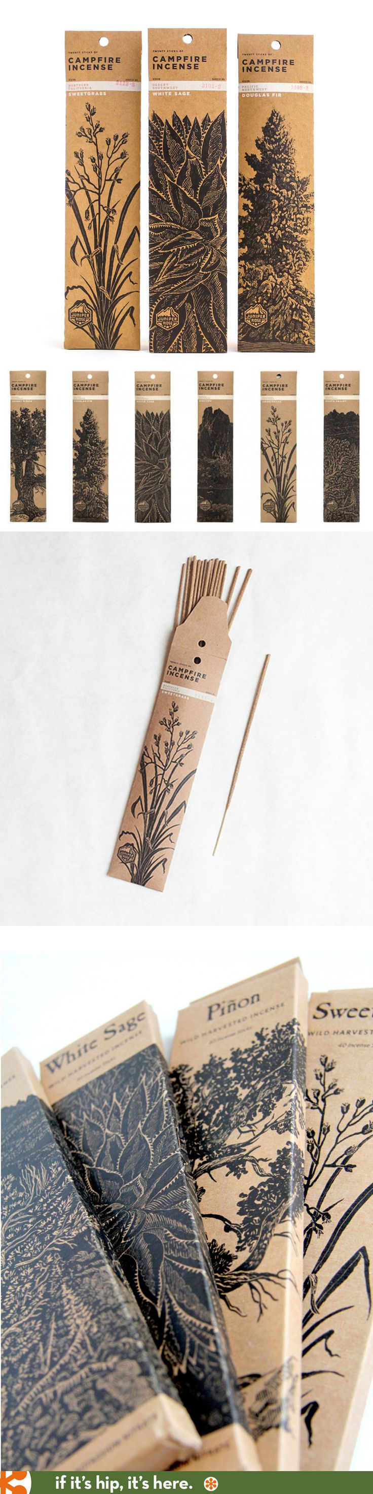 Love the packaging for Juniper Ridge brand's Campfire Incenses.