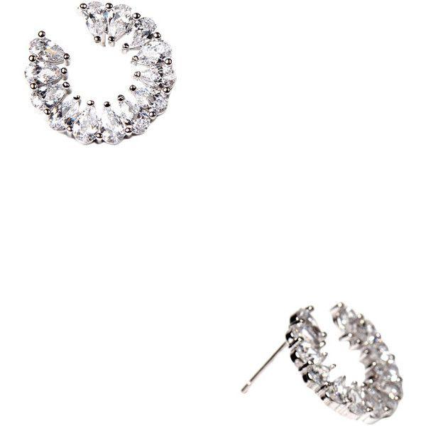 Amrita Singh Women's Neville CZ Diamond Earrings - Silver ($39) ❤ liked on Polyvore featuring jewelry, earrings, silver, long diamond earrings, silver jewellery, long silver earrings, diamond jewelry and diamond earrings