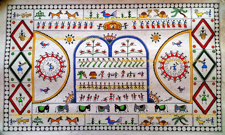 Traditional Indian Paintings: Saura Painting - Gift to my cousin :)