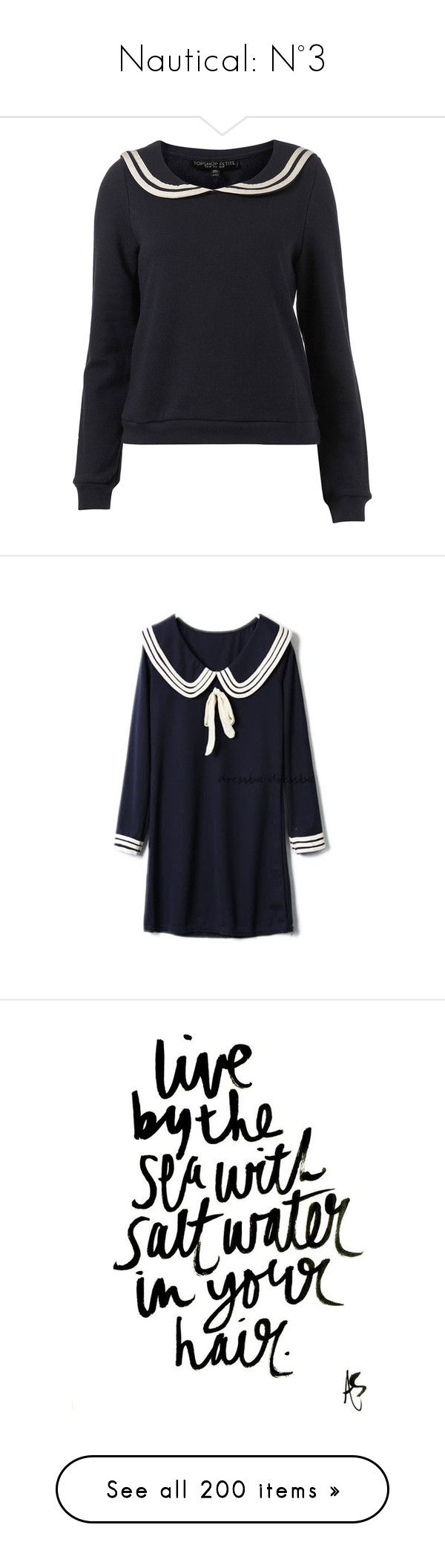 """Nautical: N°3"" by roo-roo-lu ❤ liked on Polyvore featuring tops, hoodies, sweatshirts, sweaters, shirts, jumper, women, navy sweatshirt, navy blue shirt and petite tops"