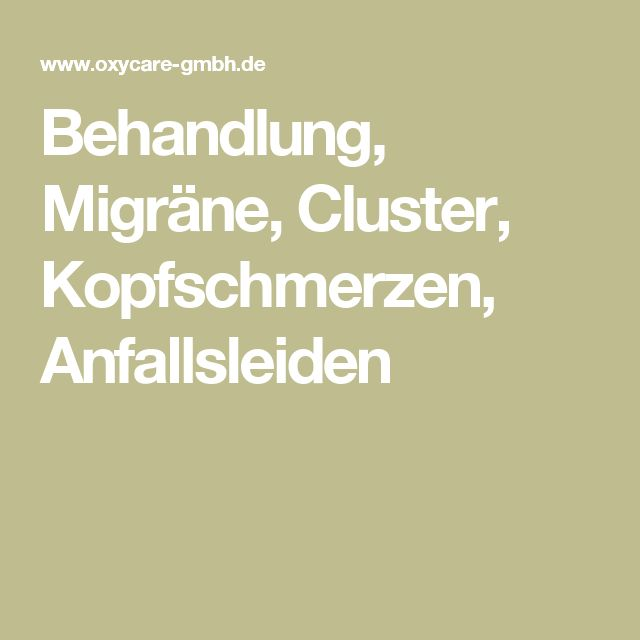Behandlung, Migräne, Cluster, Kopfschmerzen, Anfallsleiden