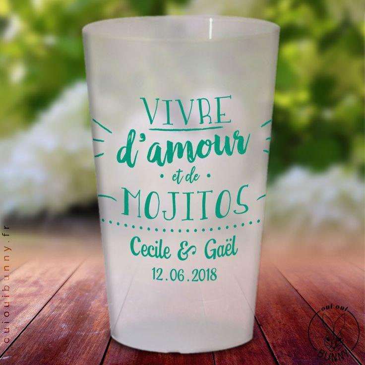 """Lot de Gobelets personnalisés cocktail """"Vivre d'amour et de mojitos"""" givrés, impression en Turquoise"""