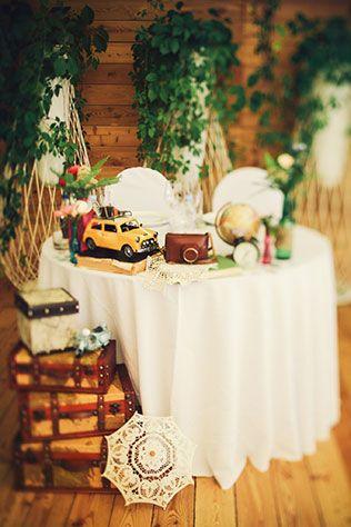 Винтажная свадьба в стиле путешествия, детали свадьбы