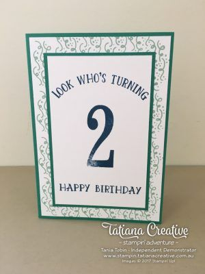 Number of Years and Balloon Adventures Stampin' Up! Stamp Sets - 2nd Birthday Card - Tatiana Creative Stampin' Adventure
