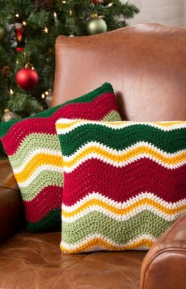 Holiday Chevron Pillows By Jessie Rayot - Free Crochet Pattern - See http://www.redheart.com/free-patterns/holiday-chevron-throw For Matching Throw - (redheart)