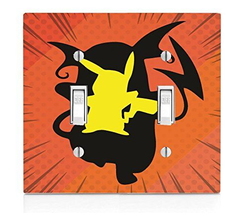 Pokemon Pikachu Raichu Evolution Silhouette Design Printed Image Artwork Double Light Switch Plate by Trendy Accessories available at https://www.amazon.com/dp/B06XWTBKT6 #vinyldecalsticker #switchplate #walldecor #pokemon