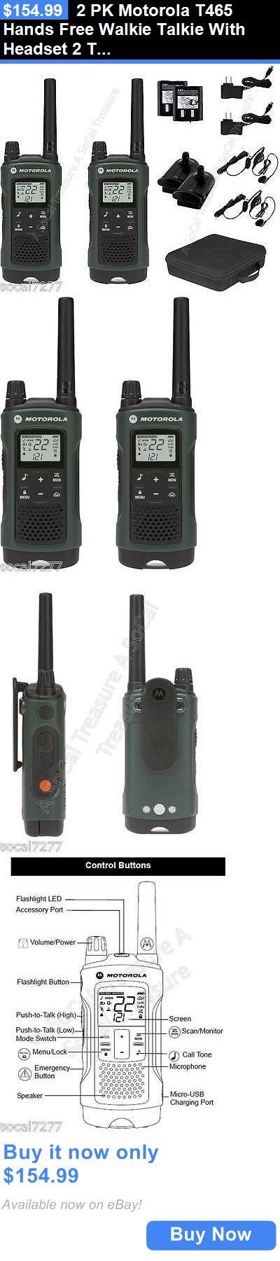 Walkie Talkies Two-Way Radios: 2 Pk Motorola T465 Hands Free Walkie Talkie With Headset 2 Two Way Radio S Gmrs BUY IT NOW ONLY: $154.99
