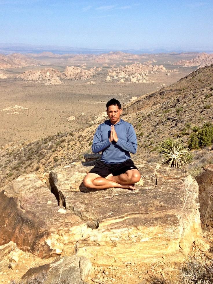Namaste from the summit of Ryan Mountain, elevation 5.457 feet.