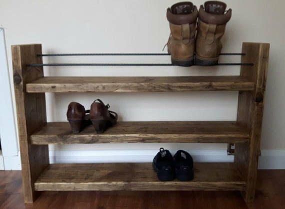 Shoe Rack Rustic Decor Reclaimed Wood Wood Shoe Rack Boot