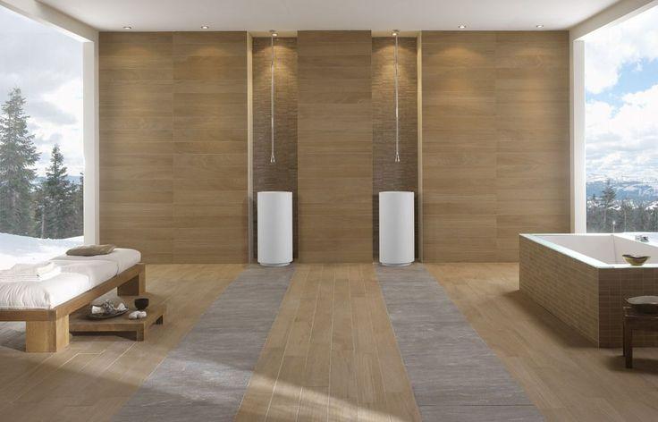 Mooie Gessi kranen en wastafels, in een omgeving van Keramisch hout van de collectie Noa van Novoceram