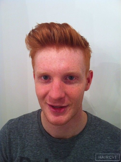 Male, Short, Redhead, Wavy, Fine Quiff Textured Ginger Texture  hairstyle