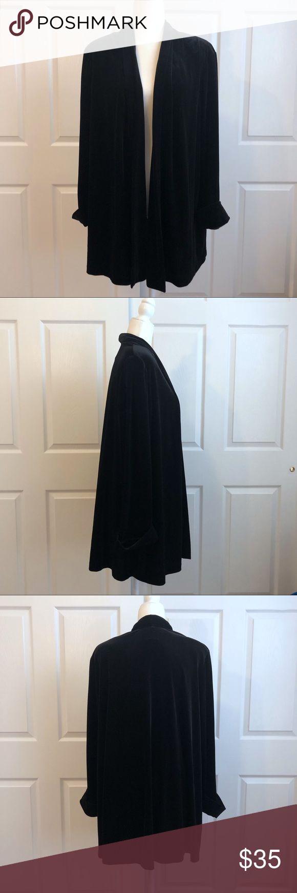 VTG Ronni Nicole Black Velvet Cardigan 1X Vintage Ronni Nicole II by Ouida Black…