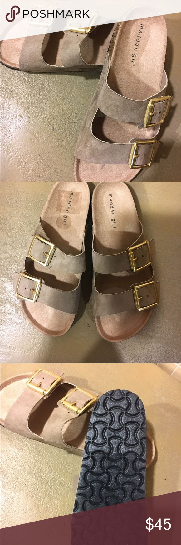 Summer READY Madden Girl Sandal Super cute and comfy! New without box! This sandal can be worn with anything!!! TTS! color is dark taupe.  Strap is suede material Madden Girl Shoes Sandals