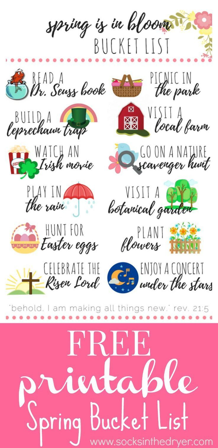 Adorable free printable with lots of fun activities for your spring bucket list! Includes encouraging Scripture and...