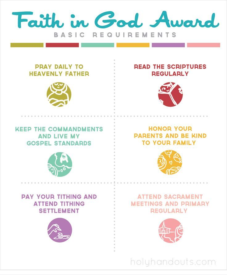 Activity Days handout- Faith in God Award basic requirements and Gospel Standards now available on Holyhandouts.com.