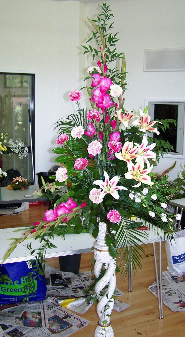 This is the biggest arrangement I produced when I attended a church flowers course at the WI's Denman College. I was lucky to have found some really fantastic flowers for it.