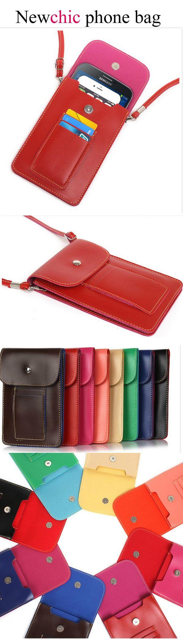 【$ 9.16】 Women PU Leather 6.3 Inch Phone Bag Card Holder Crossbody Bag