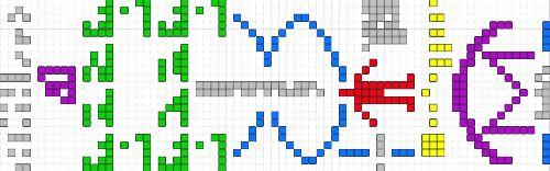 La navaja de Occam en SETI  Representación gráfica del mensaje que se envió al espacio desde el radiotelescopio de Arecibo en 1974. De izquierda a derecha se representa un sistema aritmético (en gris) y unos átomos (en verde) que conforman la doble hélice del ADN (en azul) del ser humano (en rojo) que envió el mensaje desde el tercer planeta de un sistema solar (en amarillo) usando un radiotelescopio (en morado).