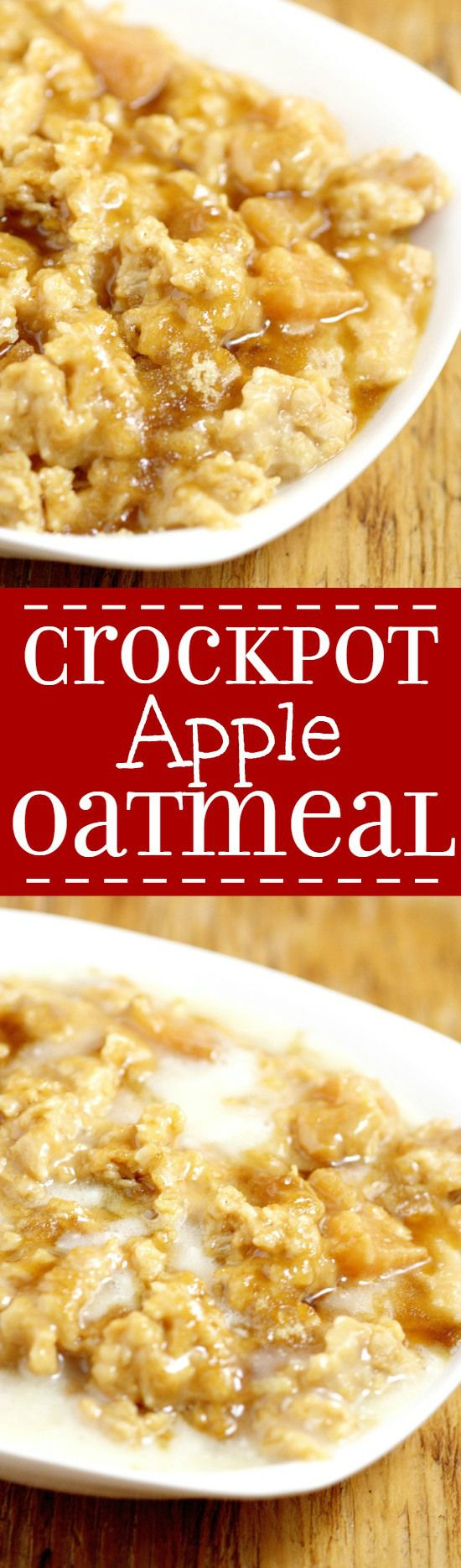Overnight Crockpot Apple Oatmealrecipe with tangy apples, nutty oats, and sweet butter and powdered sugar glaze is a perfect overnight make ahead breakfast recipe for Fall and the holidays.